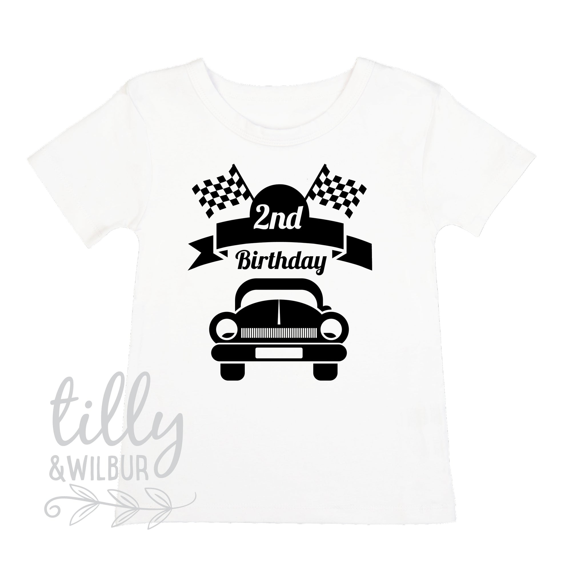 2nd Birthday T Shirt For Boys With Racing Car Gift 2