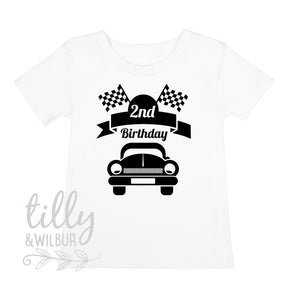2nd Birthday T-Shirt For Boys With Racing Car, Boys Birthday Gift, 2 Today, I Am 2, Second Birthday, Two Today, Racing Car Design, Boy Racer