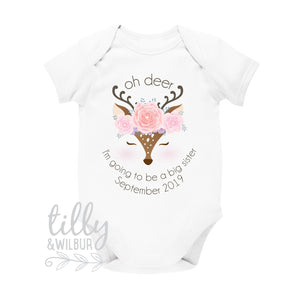 Oh Deer I'm Going To Be A Big Sister Bodysuit For Girls, Pregnancy Announcement, Pregnancy Announcement, Sister Gift, Deer, Woodland