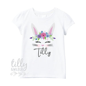 Floral Bunny Easter T-Shirt For Girls, Personalised Girls Easter T-Shirt, Easter Bunny Shirt, Egg Hunt, Easter Gift, Girls Easter Gift