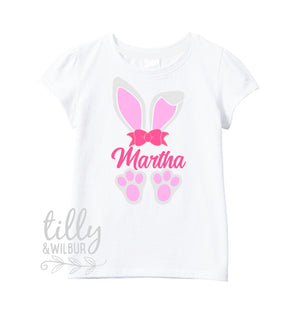 Personalised Easter T-Shirt For Girls, Bunny Ears And Feet, Easter T-Shirt, Girls Easter Gift, Girls Easter Outfit, Girls Easter Clothing
