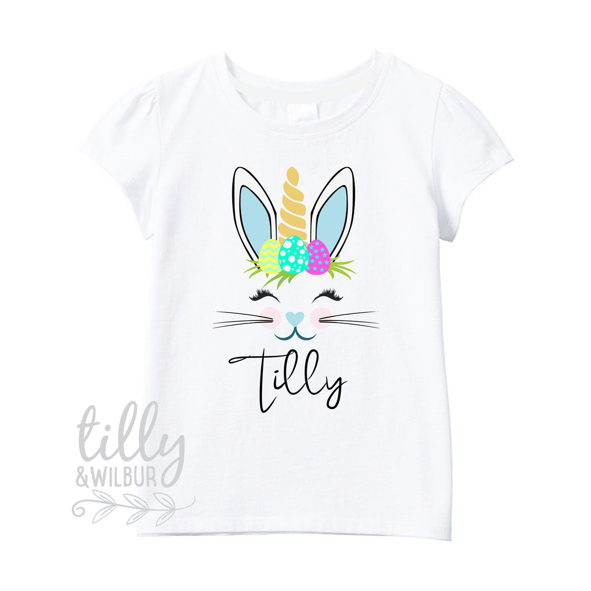 Unicorn Bunny Easter T-Shirt For Girls, Personalised Girls Easter T-Shirt, Easter Bunny Shirt, Egg Hunt, Easter Gift, Girls Easter Gift