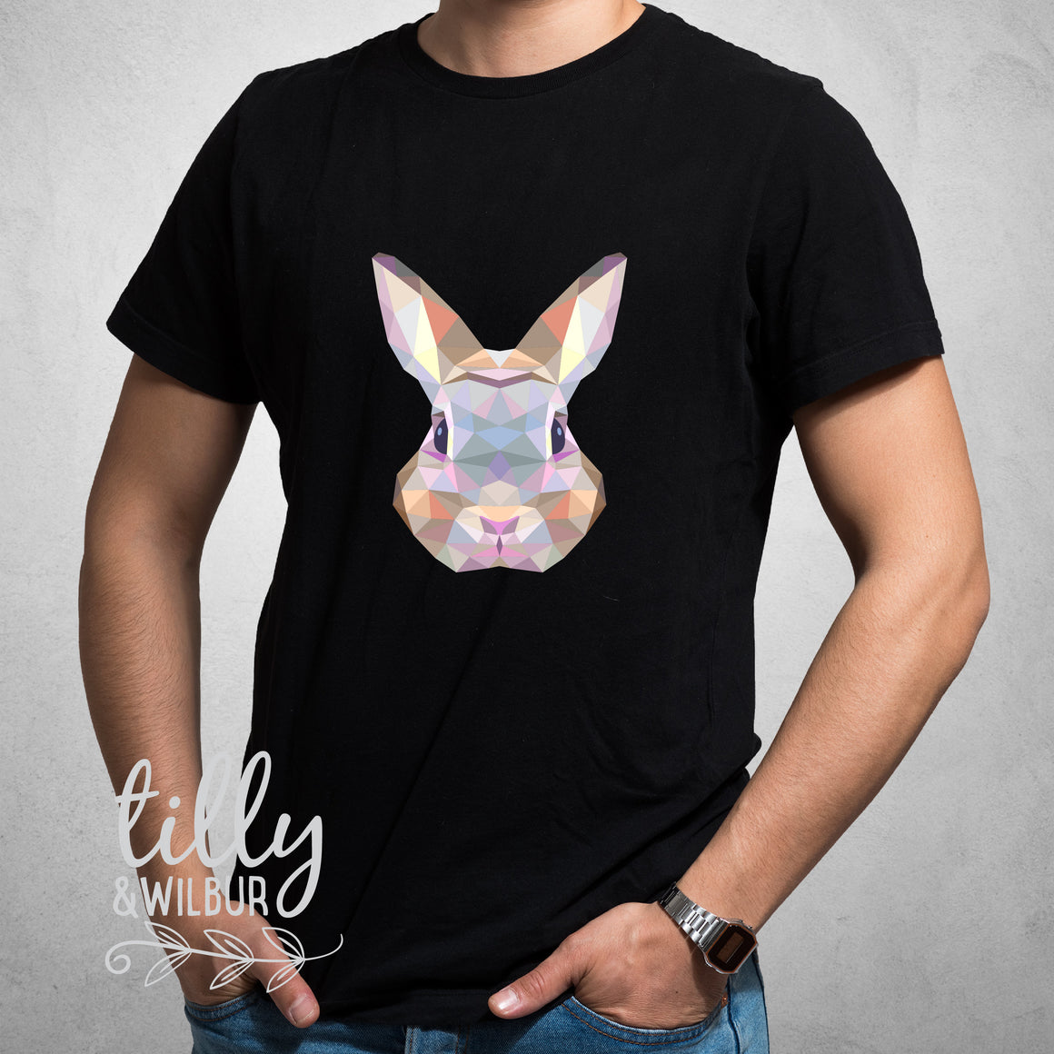 Rabbit Easter T-Shirt For Men, Geometric Rabbit Shirt, Easter T-Shirt, Dad Easter Gift, Men's Easter Shirt, Hip Hop Men's Clothing Bunny