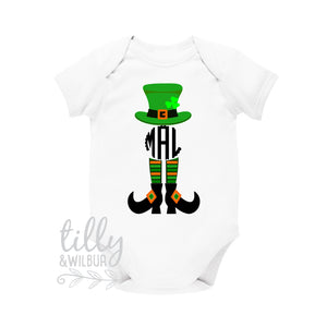 St Patrick's Day Personalised Baby Bodysuit For Girls, St Patrick's Day Baby Outfit With Monogram Initials, Happy St Paddy's Day, Irish