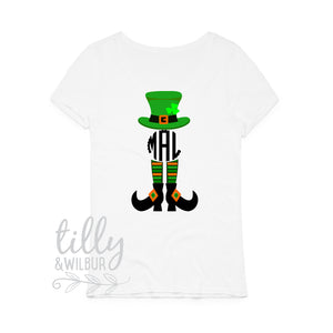 St Patrick's Day Personalised Women's T-Shirt, St Patrick's Day Shirt With Monogram Initials, Happy St Paddy's Day, Ireland, St Patrick