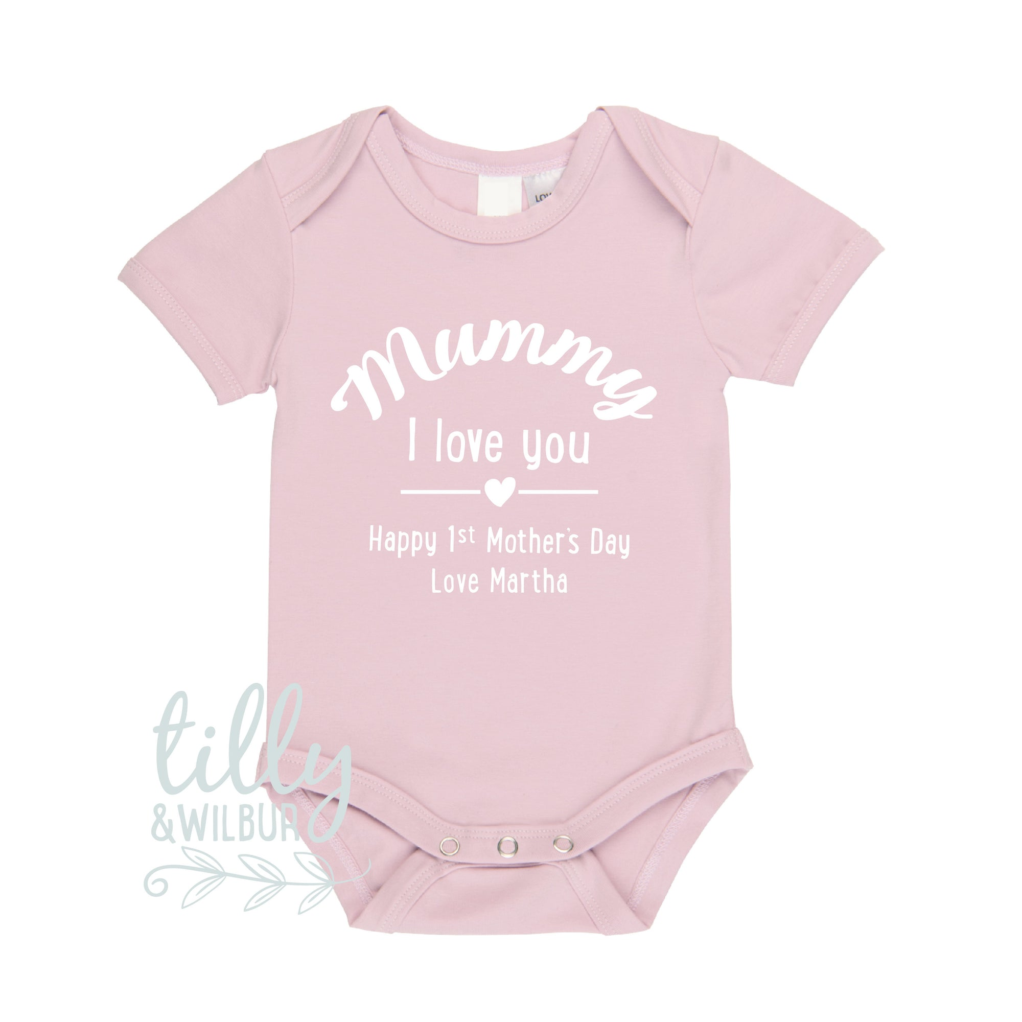 Mummy I Love You Happy First Mother's Day Personalised Baby Bodysuit, 1st Mother's Day Gift, First Mothers Day, Mothers Day Outfit For Baby