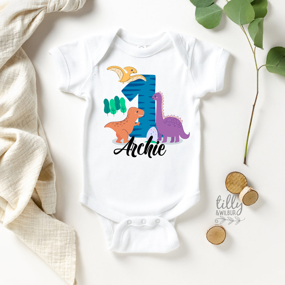 Personalised 1st Birthday Bodysuit, First Birthday Bodysuit, 1st Birthday Gift, First Birthday Gift, Baby's First Birthday, Dinosaur Theme
