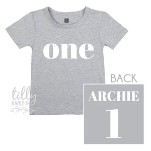 One Personalised Boys 1st Birthday T-Shirt, 1st Birthday Gift, First Birthday Tee, Name And Number 1 On Back Of Shirt, Cake Smash Outfit,