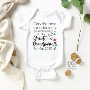Only The Best Grandparents Get Promoted To Great Grandparents Pregnancy Announcement Baby Bodysuit, Personalised Great Grandparents Gift