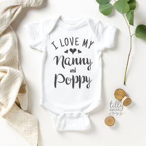 I Love My Nanny And Poppy Baby Bodysuit, Hello Grandma & Grandpa, Pregnancy Announcement To Grandparents, New Grandchild Gift, Nana, Oma