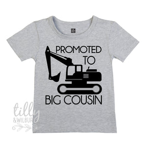 Promoted To Big Cousin Excavator T-Shirt For Boys, Big Cousin Shirt, I'm Going To Be A Big Cousin, Pregnancy Announcement, Boys Clothing,Cuz