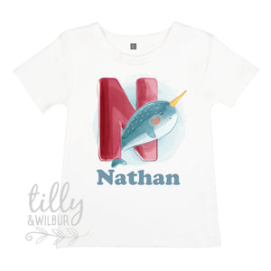 N Is For Narwhal Personalised T-Shirt For Boys, Personalised Gift For Boys, Personalised T-Shirt, Personalised Birthday Gift, Boys T-Shirt