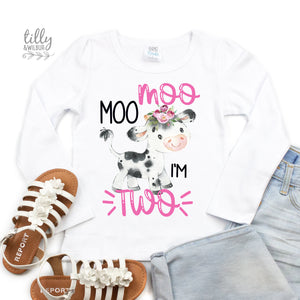 Moo Moo I'm Two Girls 2nd Birthday T-Shirt, Two T-Shirt For Girls, Girls Birthday, Birthday Girl, Farm Animal Birthday, Cow T-Shirt, Girl 2