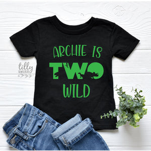Two Wild Birthday T-Shirt, Personalised Dinosaur 2nd Birthday T-Shirt, 2nd Birthday Dinosaur T-Shirt, 2nd Birthday Gift, Dino Birthday Shirt