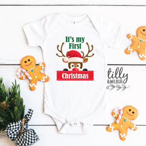 It's My First Christmas Baby Boy Bodysuit