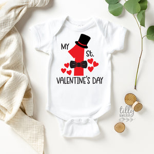 My 1st Valentine's Day Baby Bodysuit For Boys