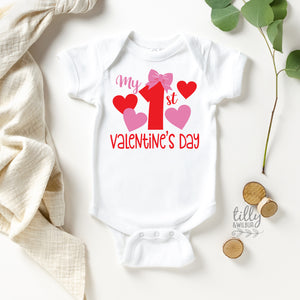 My 1st Valentine's Day Baby Bodysuit For Girls