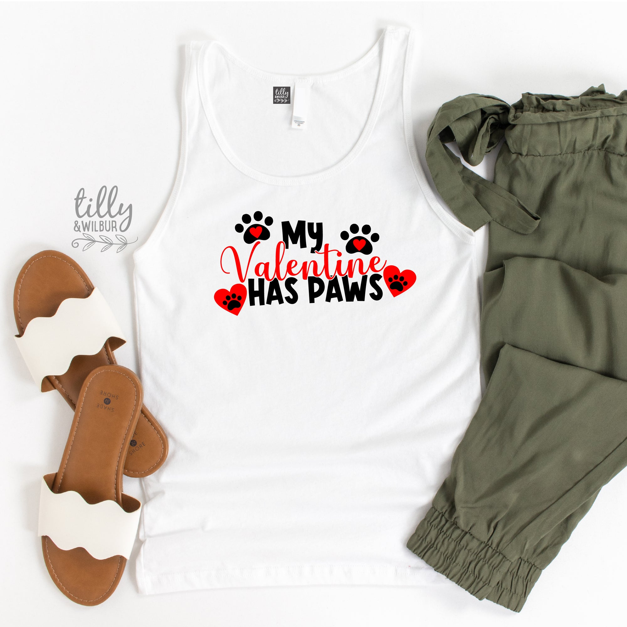 My Valentine Has Paws Valentine's Day Singlet For Women