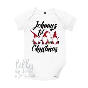 Personalised 1st Christmas Santa Gnome Bodysuit