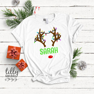 Personalised Rudolph The Red Nosed Reindeer T-Shirt For Women