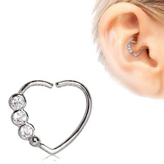 316L Stainless Steel Triple CZ Heart Annealed Cartilage Earring