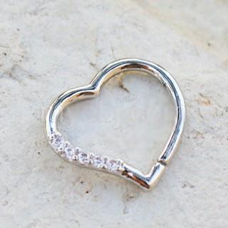 Annealed 316L Stainless Steel Jeweled Heart Cartilage Earring