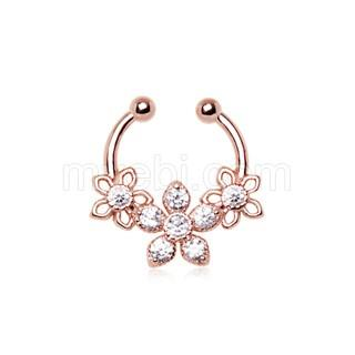 Rose Gold Plated 316L Stainless Steel Made for Royalty Triple Flower Fake Septum Clicker