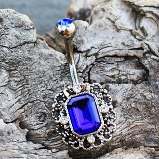 316L Stainless Steel Radiant Cut Sapphire Blue CZ Ornate Navel Ring