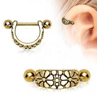 Gold Daisy Ear Cuff Cartilage Earring