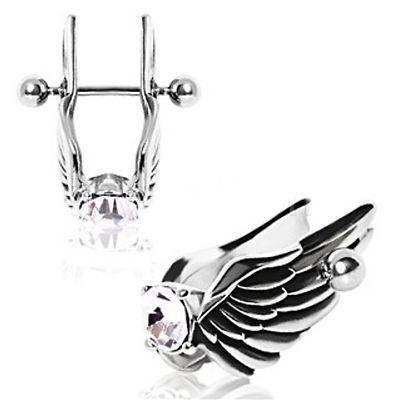 Angel Wings Cartilage Earring - Feathered Angel Wings W/ Gem Cartilage Piercing