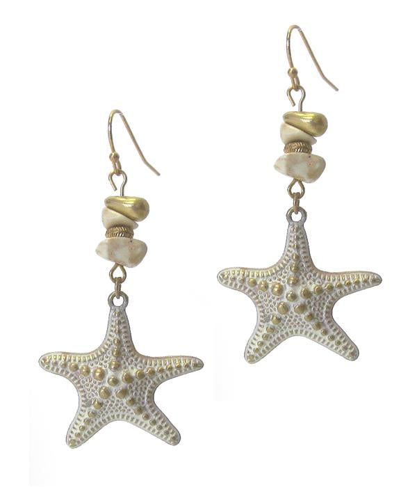 Starfish Semi Precious Stone Earrings