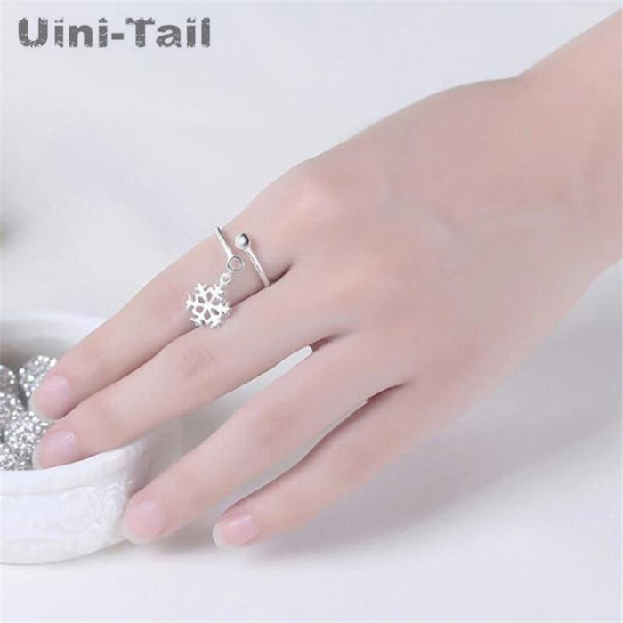 Sterling Silver Open Dangling Snowflake Ring