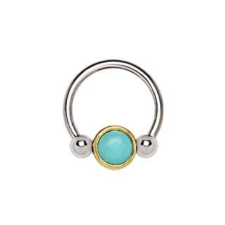 316L Stainless Steel Turquoise Snap-In Captive Bead Ring / Septum Ring