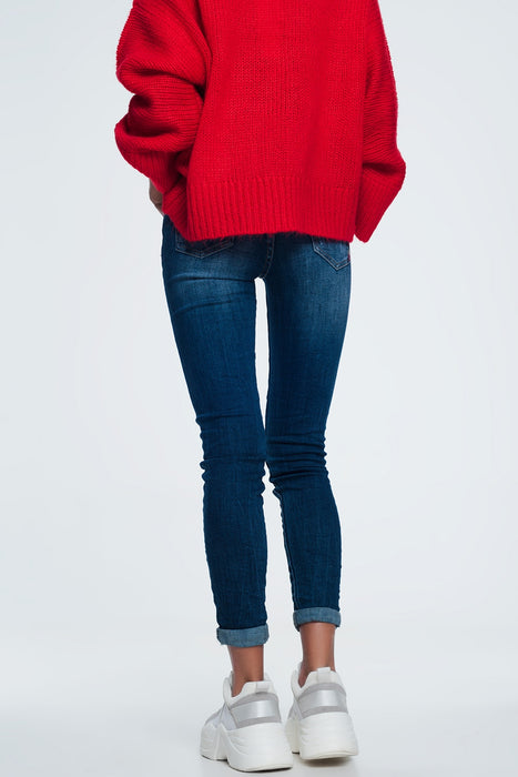 Skinny Jeans With Wear Detail