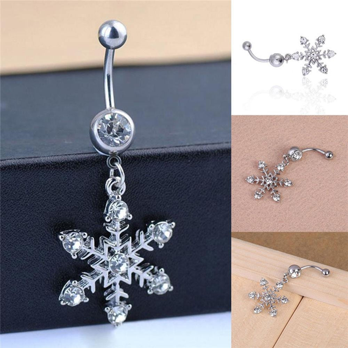 Snowflake Crystal Navel Belly Button Ring