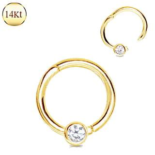 14Kt. Yellow Gold Jeweled Seamless Clicker Ring