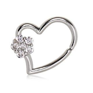316L Stainless Steel Heart Cartilage Earring With Flower