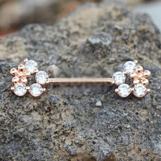 Rose Gold Plated Flower Fields Nipple Bar