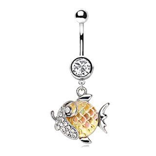 316L Stainless Steel Jeweled Gold Fish Dangle Navel Ring