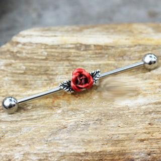 316L Stainless Steel Red Rose Industrial Barbell