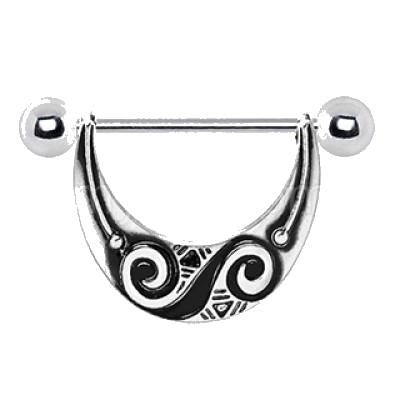 316L Stainless Steel Spiral Tribal Nipple Shield