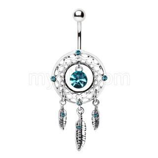 316L Stainless Steel Native Dream Catcher Navel Ring