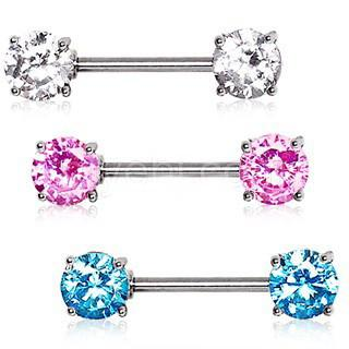 Prong Set Round CZ Nipple Bar Set