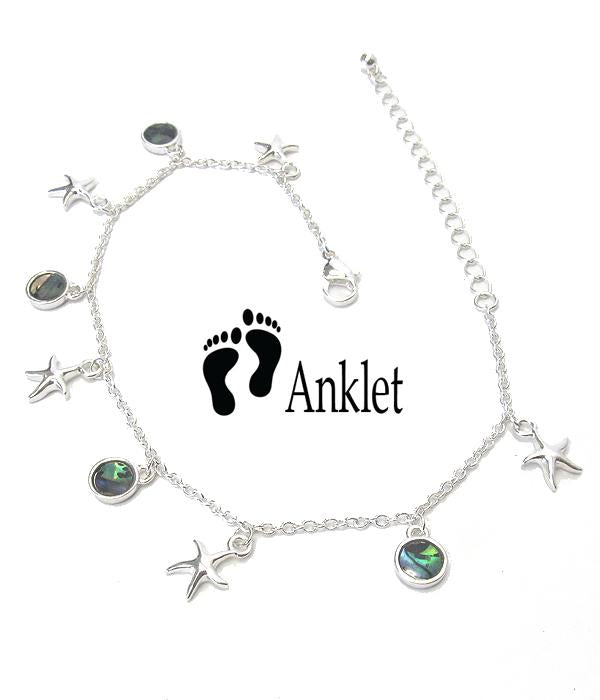 Abalone Charms Starfish Anklet Ankle Bracelet