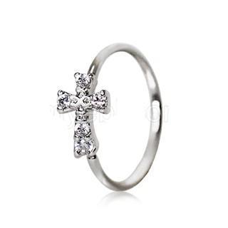 316L Stainless Steel Jeweled Cross Cartilage Earring / Nose Hoop Ring