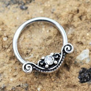 316L Stainless Steel Ornate Design Snap-In Captive Bead Ring / Septum Ring