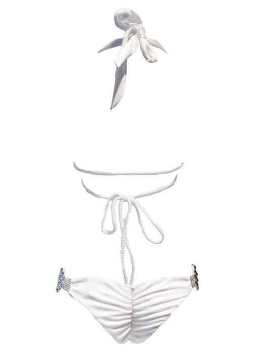 Nicole Halter Top & Skimpy Bottom - White