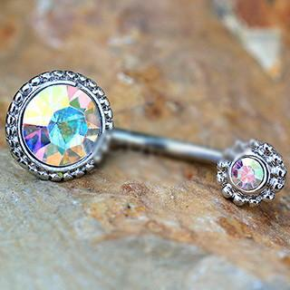 316L Stainless Steel Fancy Aurora Borealis Navel Ring