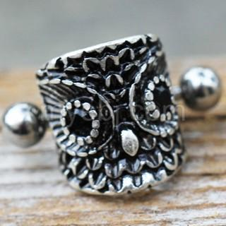 316L Stainless Steel Forest Owl Cartilage Cuff Earring