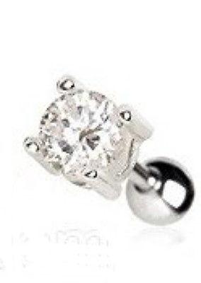 Prong Set Round Clear Cz Cartilage Earring
